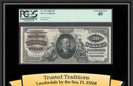 TT FR 0314 1886 $20 SILVER CERTIFICATE LARGE BROWN DIAMOND BACK RARE PCGS 40
