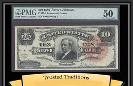"TT FR 0294 1886 $10 SILVER CERT ""TOMBSTONE"" SCARCE LARGE RED SEAL PMG 50 POP 2"