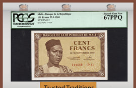 "TT PK 0002 1960 MALI 100 FRANCS ""MODIBO KEITA"" PCGS 67 PPQ SUPERB GEM FINEST KNOWN!"