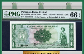 TT PK 0193a 1952 PARAGUAY 1 GUARANI PMG 66 EPQ GEM POP ONE IN THIS GRADE LEVEL!