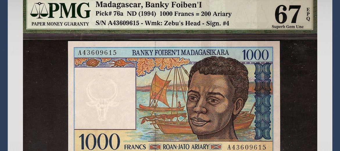 TT PK 0076a 1994 MADAGASCAR 1,000 FRANCS PMG 67 EPQ SUPERB GEM NONE FINER!