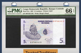 TT PK 0081a 1997 CONGO DEMOCRATIC REPUBLIC 5 CENTIMES PMG 66 EPQ POPULATION ONE