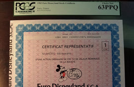 TT PK UNL 1983 DISNEYLAND PARIS FRANCE EURO STOCK CERTIFICATE PCGS 63 PPQ CHOICE NEW!