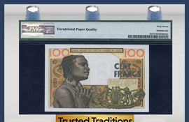 TT PK 0002b 1959 WEST AFRICAN STATES BANQUE CENTRALE 100 FRANCS PMG 67 EPQ!