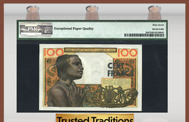 TT PK 0002b 1959 WEST AFRICAN STATE BANQUE CENTRALE 100 FRANCS PMG 67 EPQ