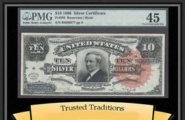 "TT FR 0293 1886 $10 SILVER CERTIFICATE ""TOMBSTONE"" LARGE RED SEAL PMG 45 POP 2"