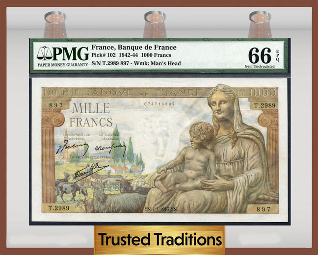 TT PK 0102 1942-44 FRANCE 1000 FRANCS CERES AND HERMES PMG 66 EPQ GEM
