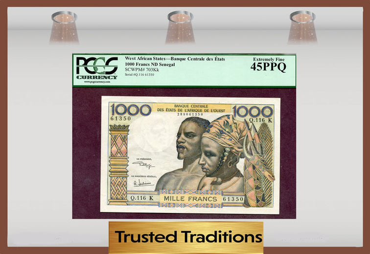 TT PK 0703Kk 1959-65 WEST AFRICAN STATES 1,000 FRANCS PCGS 45 PPQ EXTREMELY FINE