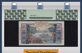 TT PK 0032s 1947-49 GUADELOUPE 10 FRANCS SPECIMEN PCGS 66 PPQ GEM NEW FINEST KNOWN