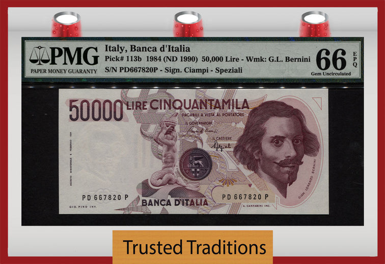 TT PK 0113b 1984 ITALY 50,000 LIRE PMG 66 EPQ GEM UNCIRCULATED NONE FINER BY PMG