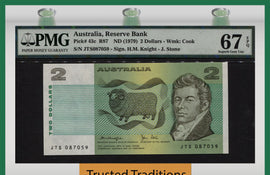 "TT PK 0043c 1979 AUSTRALIA 2 DOLLARS ""SHEEP"" PMG 67 EPQ GEM UNCIRCULATED POP 1"