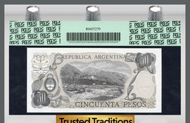 TT PK 0301a 1976-78 ARGENTINA 50 PESOS PCGS 67 PPQ SUPERB TOP POP FINEST KNOWN!