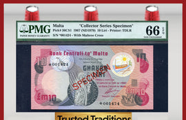"TT PK 0036CS1 1967 MALTA 10 LIRI ""SPECIMEN""  PMG 66 EPQ GEM UNCIRCULATED POP THREE"