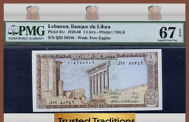TT PK 0061c 1978-80 LEBANON 1 LIVRE PMG 67 EPQ SUPERB GEM POP ONE FINEST KNOWN!