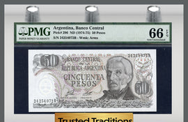 TT PK 0296 1974-75 ARGENTINA 50 PESOS PMG 66 EPQ GEM POP ONE FINEST KNOWN!