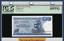 TT PK 0001b 1983 ZIMBABWE 2 DOLLARS WATER BUFFALO PCGS 68 PPQ SUPERB FINEST KNOWN!