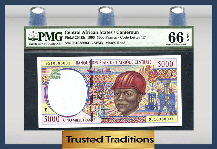 TT PK 0204Eb 1995 CENTRAL AFRICAN STATES 5000 FRANCS PMG 66 EPQ POP 2 NONE FINER