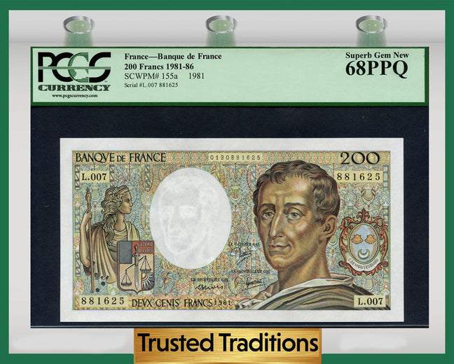 TT PK 0155a 1981-86 FRANCE BANQUE DE FRANCE 200 FRANCS PCGS 68 PPQ SUPERB GEM