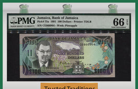 "TT PK 0075a 1991 JAMAICA 100 DOLLARS ""SAMUEL SHARPE"" PMG 66 EPQ GEM UNC POP TWO!"