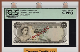 "TT PK 0039as 1974 BAHAMAS $20 ""ELIZABETH II"" ""SPECIMEN"" PCGS 67 PPQ SUPERB TOP POP"