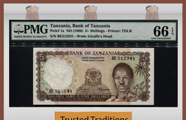 "TT  PK 0001a 1966 TANZANIA 5/ SHILLINGS ""J NYERERE"" PMG 66 EPQ GEM POP 9 NONE FINER"