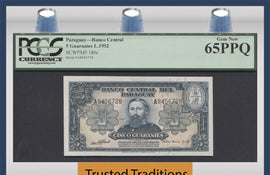 TT PK 0186c 1952 PARAGUAY 5 GUARANIES PCGS 65 PPQ GEM NEW - ONLY GEM KNOWN!!