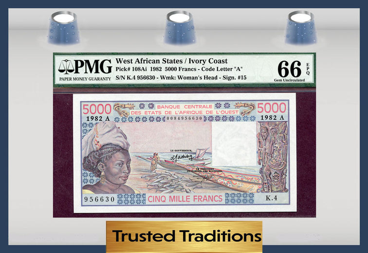 TT PK 0108Ai 1982 WEST AFRICAN STATES 5000 FRANCS PMG 66 EPQ GEM POP ONE NONE FIN