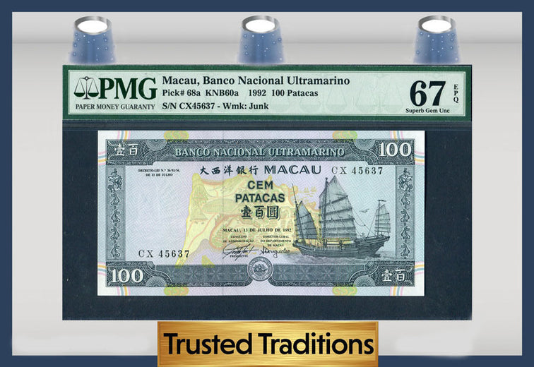 TT PK 0068a 1992 MACAU 100 PATACAS PMG 67 EPQ SUPERB GEM NONE GRADED FINER!