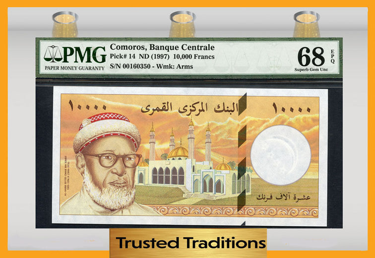 TT PK 0014 ND 1997 COMOROS 10000 FRANCS PMG 68 EPQ SUPERB GEM ONLY ONE FINER!