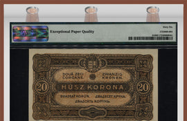 "TT PK 0061 1920 HUNGARY 20 KORONA ""STATE NOTE"" PMG 66 EPQ! POP ONE NONE FINER!"