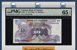 TT PK 0016 ND (1982) UGANDA 10/- SHILLINGS PMG 65 EPQ GEM UNC POP ONE FINEST KNOWN