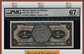 TT PK 0059j 1967 MEXICO 1 PESO PMG 67 EPQ SUPERB GEM UNC FINEST KNOWN NONE FINER!