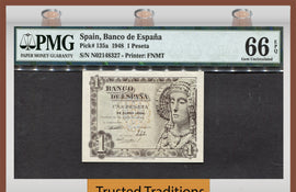 TT PK 0135a 1948 SPAIN 1 PESETA PMG 66 EPQ GEM UNCIRCULATED ONLY TWO FINER!