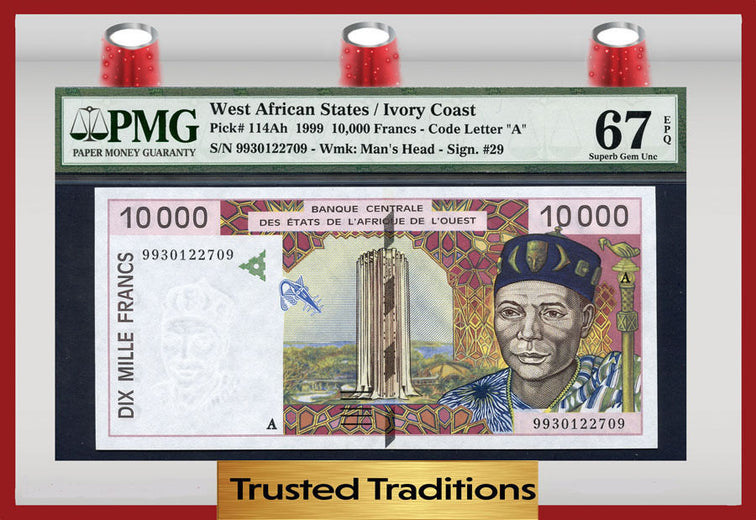 TT PK 0114Ah 1999 WEST AFRICAN STATES 10,000 FRANCS PMG 67 EPQ POP ONE!