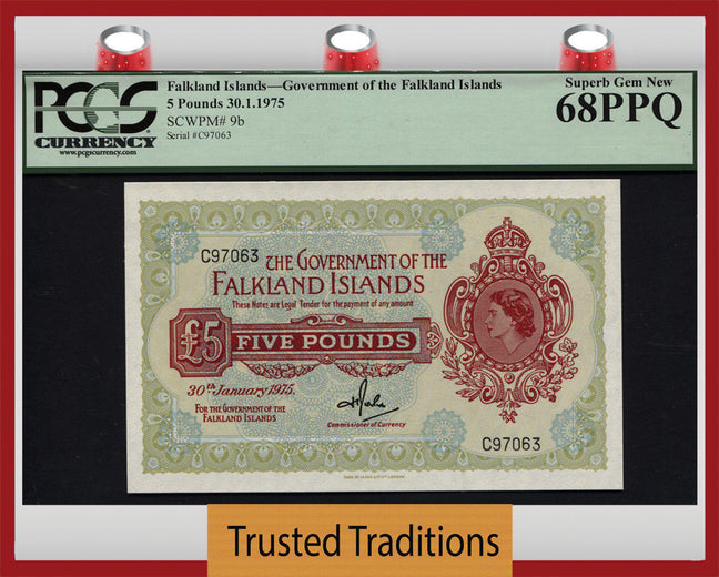 TT PK 0009b 1975 FALKLAND ISLANDS 5 POUNDS