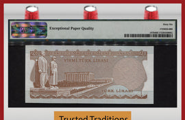 "TT PK 0187b 1970 (1974) TURKEY 20 LIRA ""PRESIDENT K."" PMG 66 EPQ GEM UNCIRCULATED"