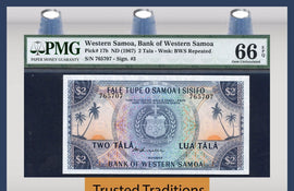 TT PK 0017b 1967 WESTERN SAMOA 2 TALA PMG 66 EPQ GEM UNCIRCULATED FINEST KNOWN!