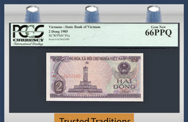 "TT PK 0091a 1985 VIETNAM 2 DONG ""TOWER OF HA NOI"" PCGS 66 PPQ GEM NEW POP ONE!"