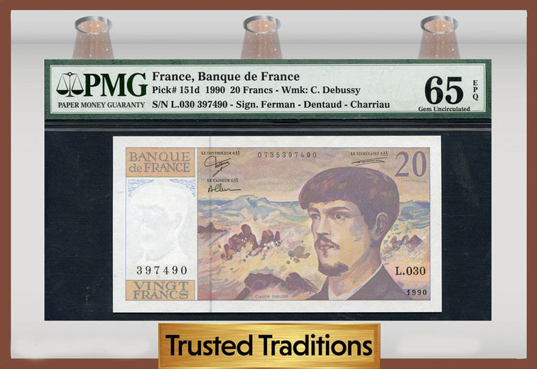 TT PK 0151d 1990 FRANCE 20 FRANCS PMG 65 EPQ GEM POP ONE FINEST KNOWN!