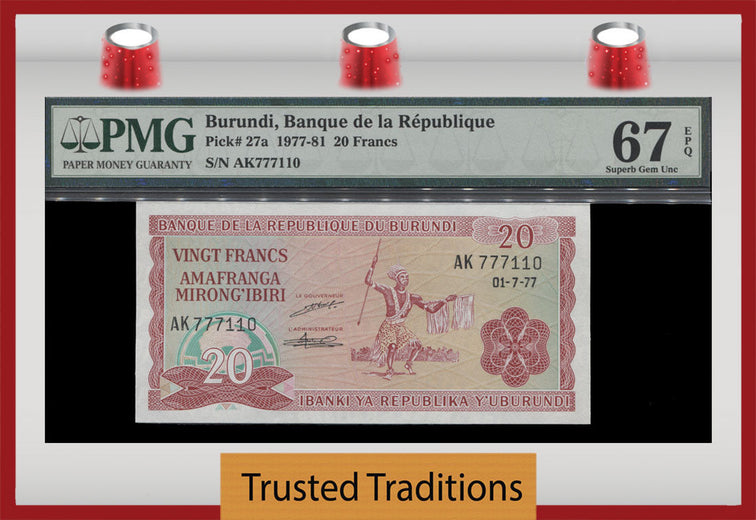 TT PK 0027a 1977-81 BURUNDI 20 FRANCS PMG 67 EPQ SUPERB GEM UNCIRCULATED POP FOUR!