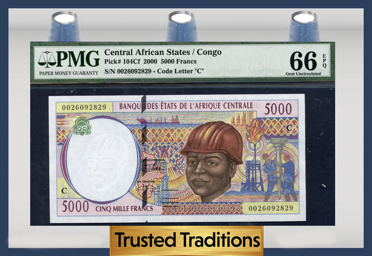 TT PK 0104Cf 2000 CENTRAL AFRICAN STATES / CONGO 5,000 FRANCS PMG 66 EPQ GEM