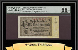 TT PK 0173b 1937 GERMANY 1 RENTENMARK STABILIZATION BANK PMG 66 EPQ GEM UNC.