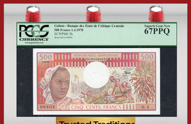 TT PK 0002b 1978 GABON 500 FRANCS PCGS 67 PPQ SUPERB GEM NEW BEAUTIFUL SCENERY!