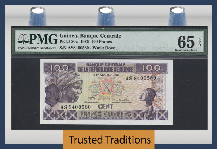 TT PK 0030a 1985 GUINEA 100 FRANCS PMG 65 EPQ GEM UNCIRCULATED POPULATION 1