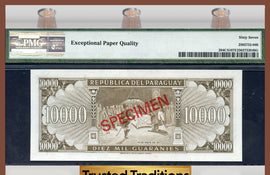 "TT PK 0204CS1 1952 PARAGUAY 10,000 GUARANIES ""COLLECTOR SERIES SPECIMEN"" PMG 67 E"