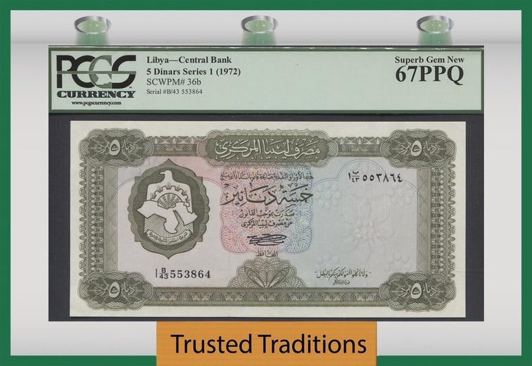 TT PK 0036b 1972 LIBYA CENTRAL BANK 5 DINARS PCGS 67 PPQ SUPERB GEM NEW TOP POP
