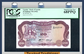 TT PK 0003a 1966 UGANDA 20 SHILLINGS PCGS 68 PPQ 2 OF 2 SEQUENTIAL SERIAL NUMBER