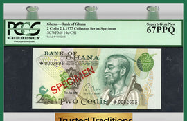 "TT PK 0014c-CS1 1977 GHANA 2 CEDIS ""SPECIMEN"" PCGS 67 PPQ SUPERB ""FINEST KNOWN"""