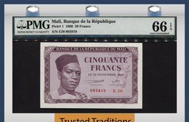 TT PK 0001 1960 MALI 50 FRANCS PMG 66 EPQ GEM - 1ST NOTE AFTER GAINING INDEPENDENCE
