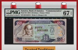 TT PK 0088 2010 JAMAICA 50 DOLLARS COMMEMORATIVE PMG 67 EPQ SUPERB POPULATION ONE